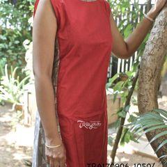 Trayee Red Hand-printed Anarkali Kurta