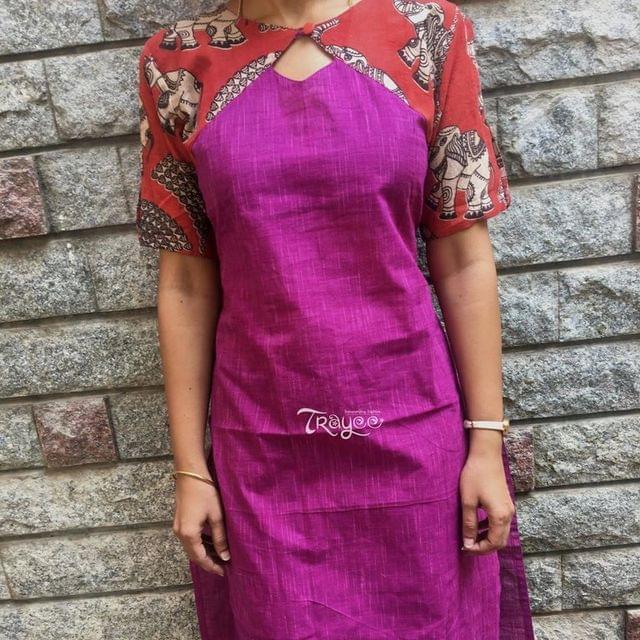 Trayee Purple Kalamkari Cold Shoulder Cotton Kurta