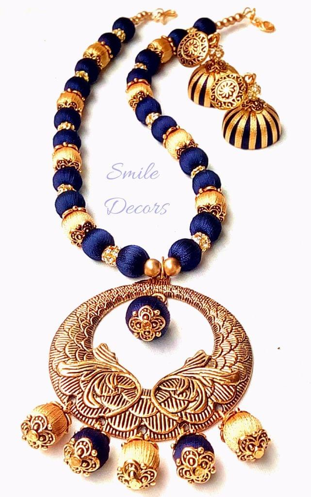 Smile Decors Gold and Blue Combo Silk Thread Jewellery