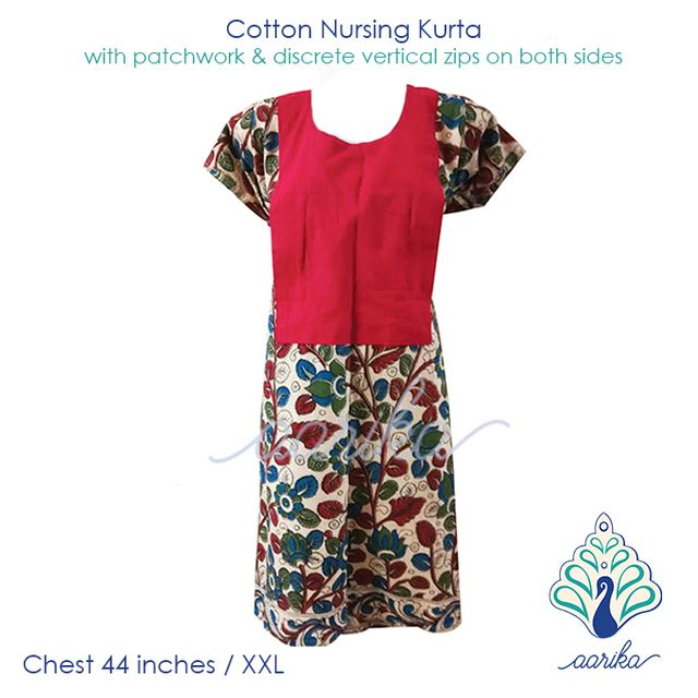 Aarika Red Patch Cotton Kalamkari Feeding Kurta Size XXL