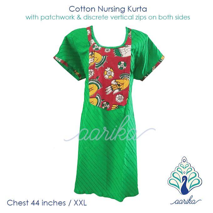 Aarika Light Green Cotton Kalamkari Feeding Kurta with Mudra Print Patchwork