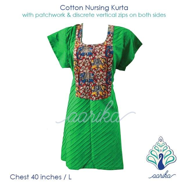 Aarika Light Green Cotton Kalamkari Feeding Kurta with Elephant Patchwork