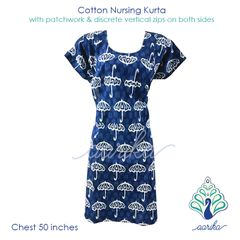 Aarika Indigo Cotton Feeding Kurta with Umbrella Patterned Patchwork