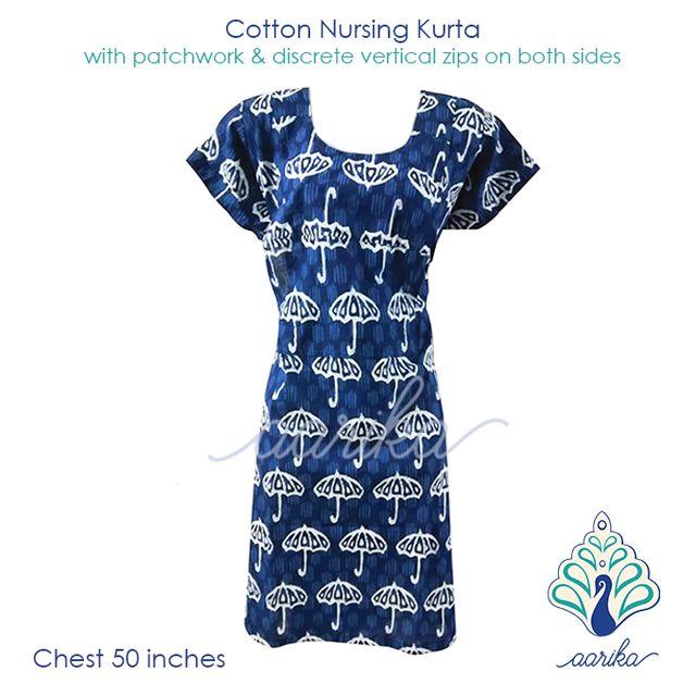 Aarika Indigo Cotton Feeding Kurta with Umbrella Patterned Patchwork