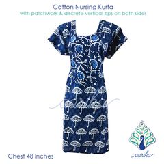Aarika Indigo Umbrella Print Cotton Feeding Kurta