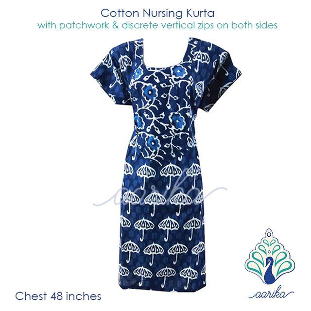 Aarika Indigo Umbrella Print Cotton Feeding Kurta