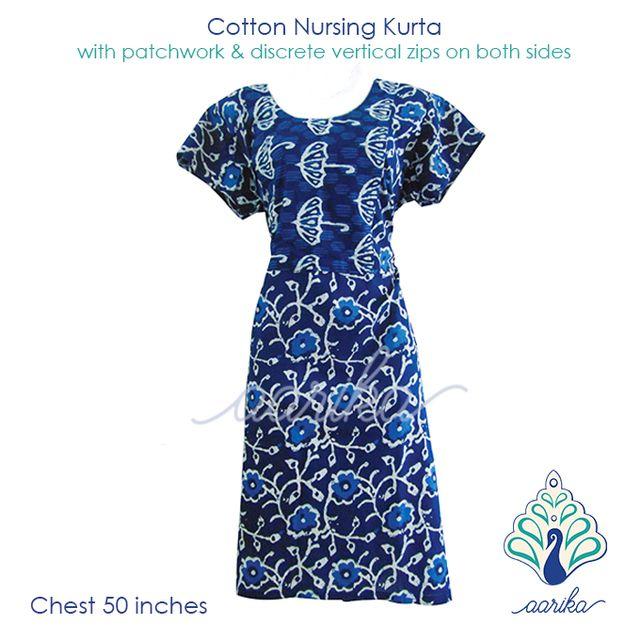 Aarika Indigo Flower Pattern Cotton Feeding Kurta Size 5XL