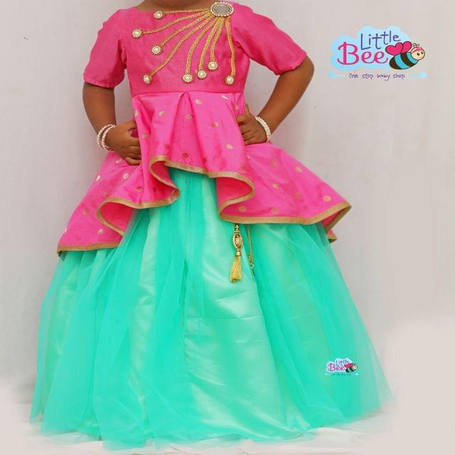 Little Bee Indo Western Pink & Mint Green Skirt & Top