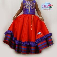 Little Bee Red and Violet Check Tree Lehenga