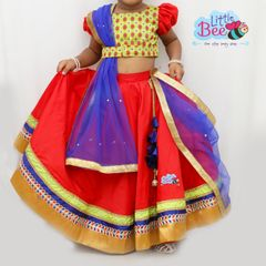 Little Bee Red and Blue Traditional Stylish Lehenga