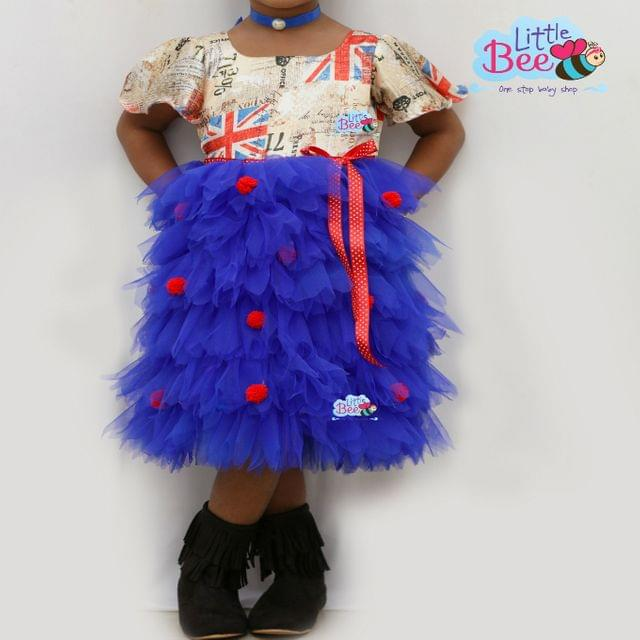 Little Bee Satin and Net Frock with UK Flag Prints