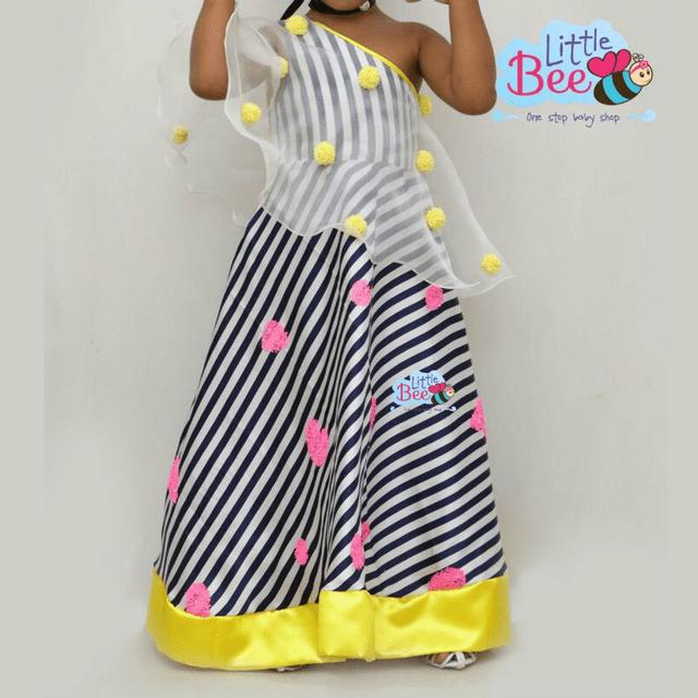 Little Bee Pom-Pom Yellow Full Length Dress