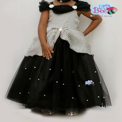 Little Bee Black Dot Full Length Dress