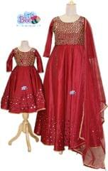 Little Bee Mom and Daughter Maroon Mirror Gown
