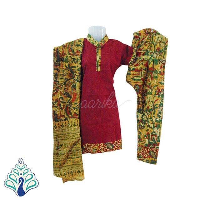 Kalamkari Hut and Village motif Dupatta and bottom paired with Maroon Top