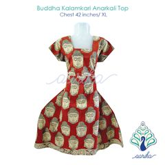 Aarika Red Kalamkari Anarkali Kurtha with Buddha Prints Size XL