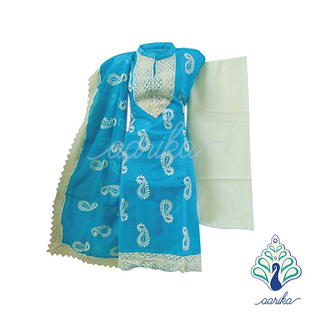 Aarika Netted Chudithar Material with Thread Work