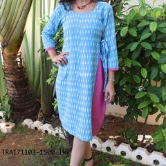Trayee Blue Ikkat Cotton Dress