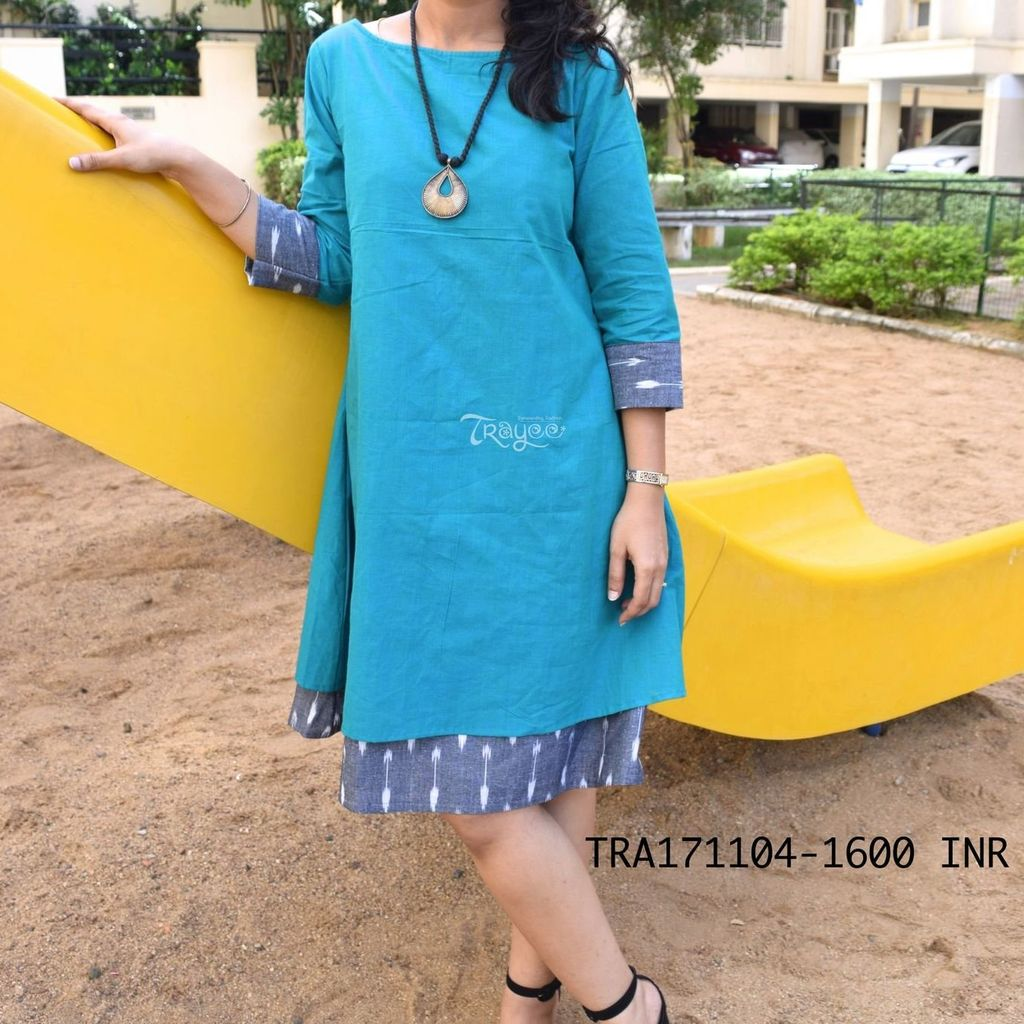 Trayee Teal Green-Grey Cotton Ikkat Layered Dress