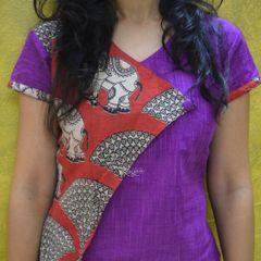 Trayee Purple Kalamkari Half-and-Half Elephant Print Asymmetrical Shirt