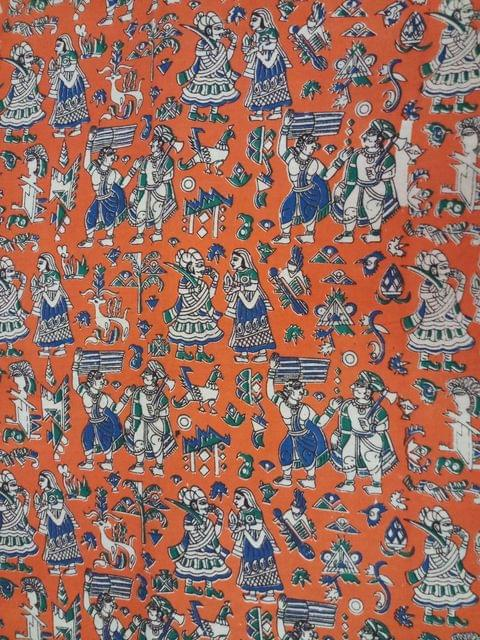Pink Pearls Dark Orange Kalamkari Cotton Running Material