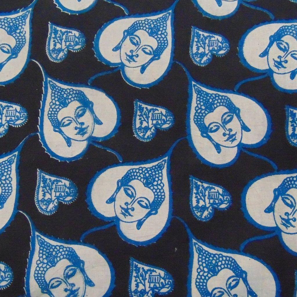 Aarika Kalamkari Cotton Running Material with Leaf Patterned Buddha Prints
