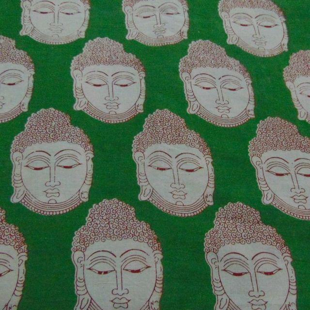 Green with Red Buddha Kalamkari Cotton Running Material