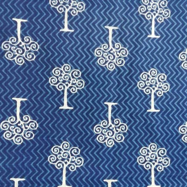 Aarika Indigo Cotton Running Material with Trees Print