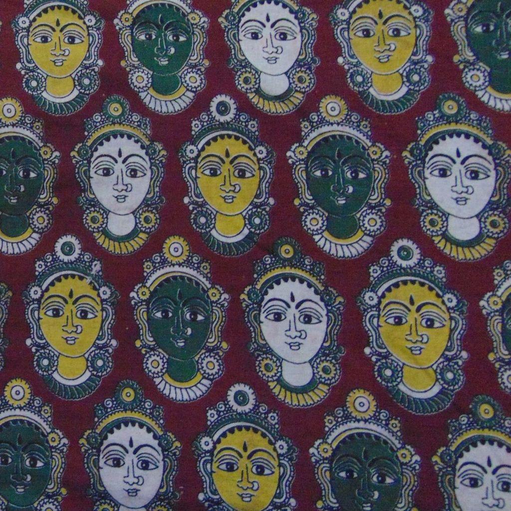 Aarika Brown Kalamkari Cotton Running Material with Multicoloured Devi Faces