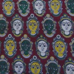 Aarika Brown Kalamkari Cotton Running Material with Multicoloured Devi Faces