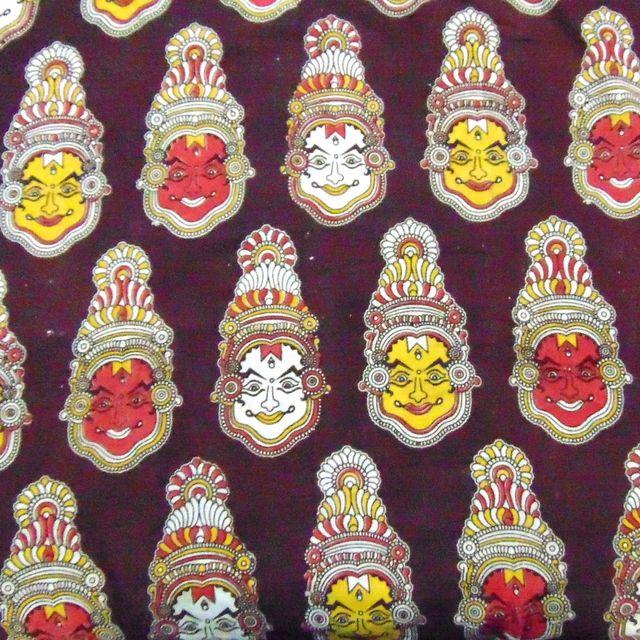 Aarika Brown Kalamkari Cotton Running Material with Kathakali Face Pattern