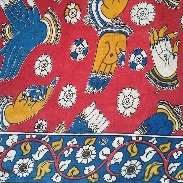 Aarika Red Kalamkari Cotton Running Material with Multicoloured Mudras