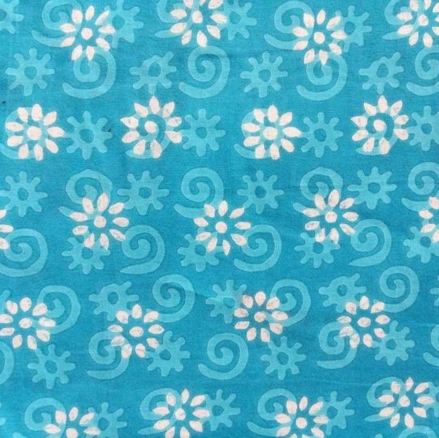 Aarika Blue Jaipuri Cotton Running Material with Flower Print