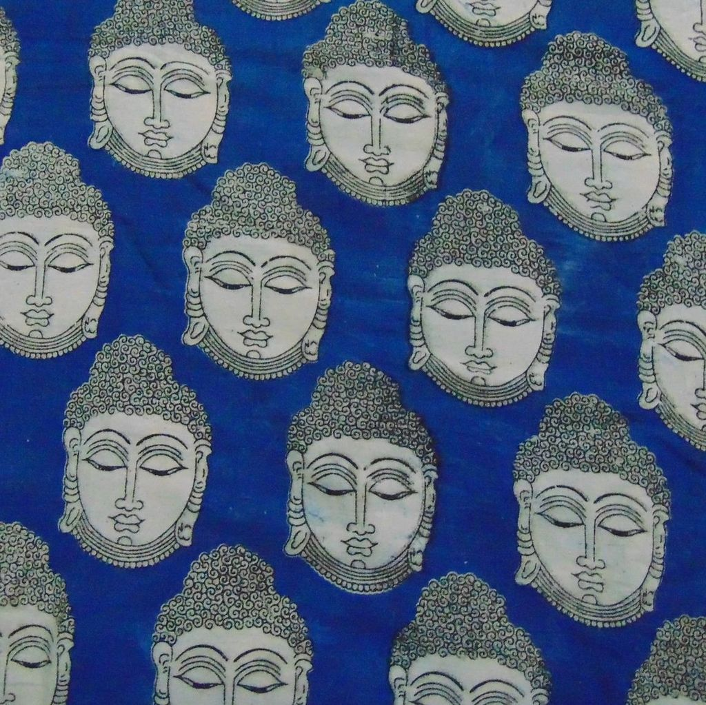 Aarika Blue Kalamkari Cotton Running Material with Buddha Pattern