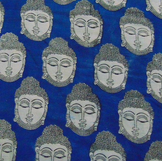 Aarika Blue Kalamkari Cotton Running Material with Buddha Pattern