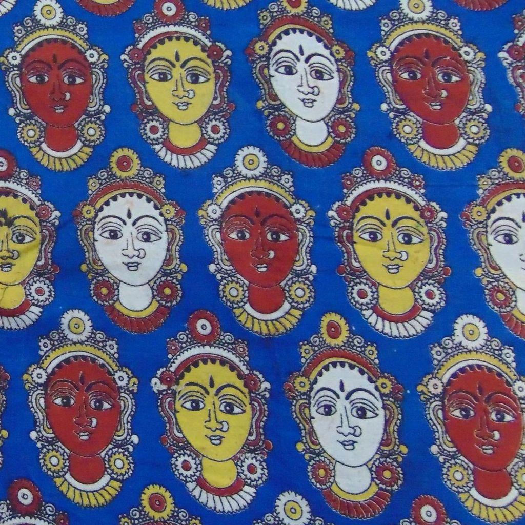 Aarika Blue Kalamkari Cotton Running Material with Multicoloured Lakshmi Faces