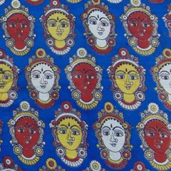 Aarika Blue Kalamkari Cotton Running Material with Multicoloured Lakshmi Faces