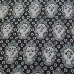 Aarika Black Cotton Kalamkari Running Material with Devi Face Pattern