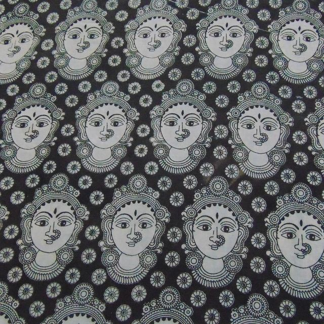 Aarika Black Cotton Kalamkari Running Material with Devi Face Pattern