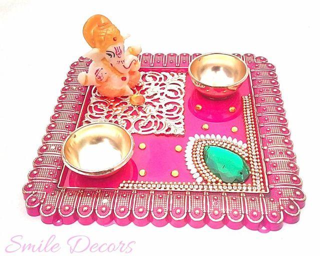 Smile Decors Pink Acrylic Pooja Thali