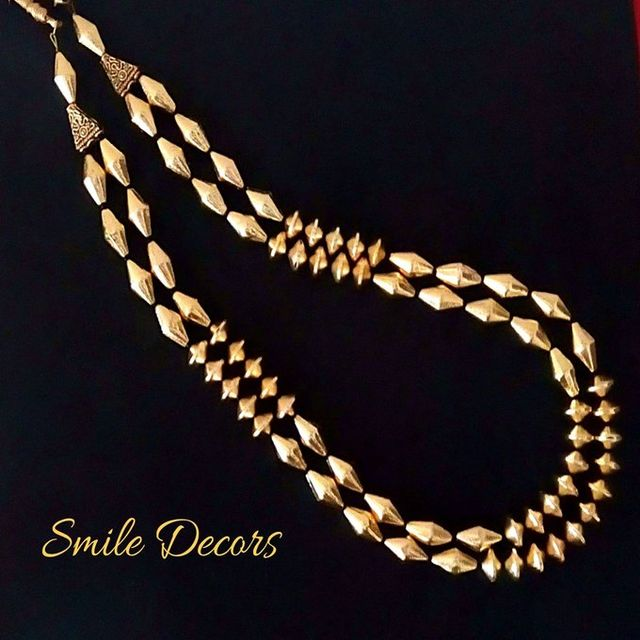 Smile Decors Brushed Gold Double Layer Necklace With Dolki Beads