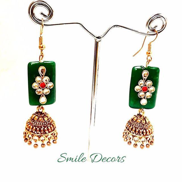 Smile Decors Antique Gold Jhumkas With Kundan Stones