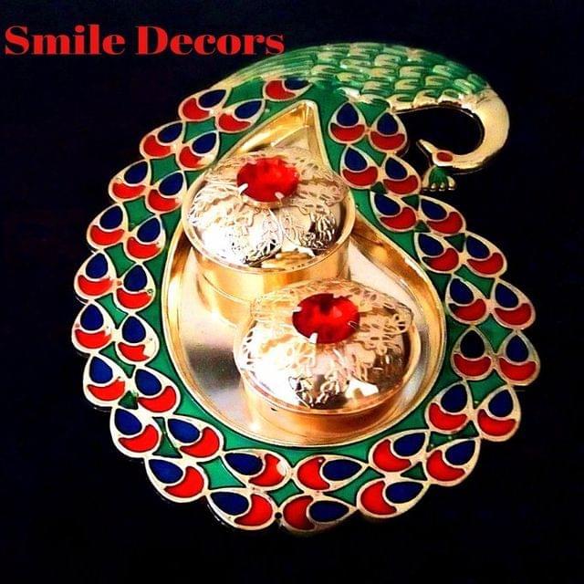 Smile Decors Acrylic Meenakari Peacock Haldi Kumkum Plate