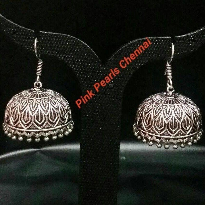 Pink Pearls Oxidised Silver Jhumka with Hook