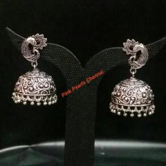 Pink Pearls Oxidised Silver Jhumka with Peacock Stud