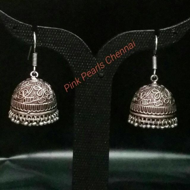 Pink Pearls Oxidised Silver Flower Jhumka with Hook