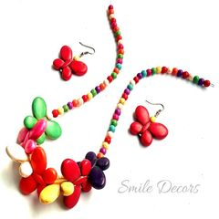 Smile Decors Multicolour Howlite Butterfly Bead Jewellery Set