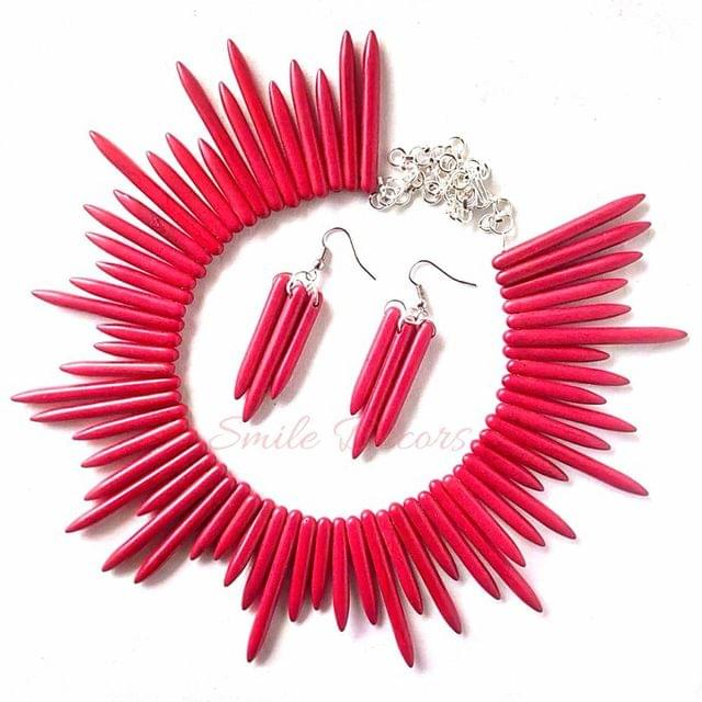 Smile Decors Red Howlite Spikes Choker Set With Earrings