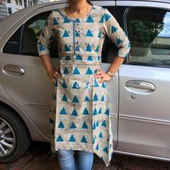 Trayee Grey and Blue mirror Work Asymmetrical kurta