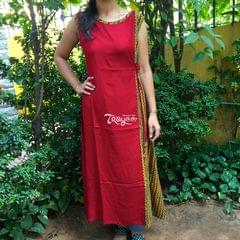 Trayee Red Sleeveless Kurta with Knot